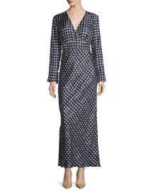 Long-Sleeve Star-Print Maxi Dress, Black