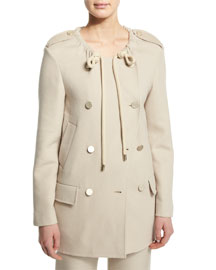 Double-Breasted Drawstring-Collar Jacket, Sand