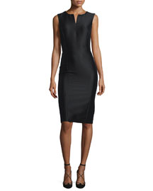 Sleeveless Mikado Sheath Dress, Black