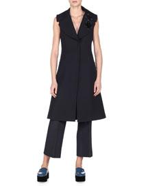 Flower-Embellished Long Vest, Black