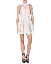 Flowerland Mock-Neck Cocktail Dress, White
