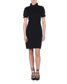 Mock-Neck Short-Sleeve Cloque Dress, Black
