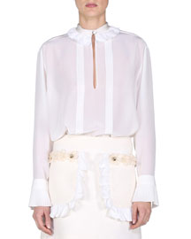 Silk Crepe Blouse w/Ruffled Trim, White