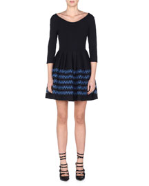 3/4-Sleeve Lace-Striped Fit-and-Flare Dress