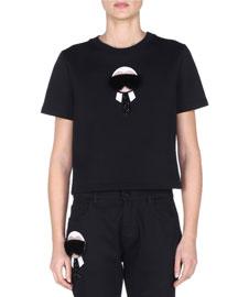 Short-Sleeve Jersey Top w/Fur Karlito, Black