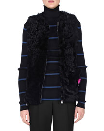 Shearling Fur Vest w/Monster Pocket, Black