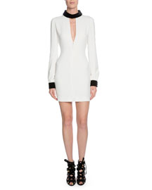 Long-Sleeve Cady Cocktail Dress w/Contrast Trim, Chalk