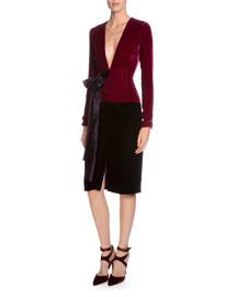 Plunging Long-Sleeve Colorblock Velvet Dress
