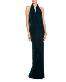Velvet Open-Back Halter Gown, Petrol