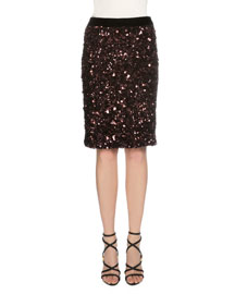 Sequined Stretch-Knit Skirt, Fuchsia