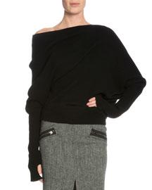 Long-Sleeve Off-the-Shoulder Sweater, Black
