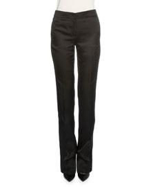 Slim-Leg Mid-Rise Cashmere Pants, Black