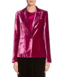 One-Button Velvet Jacket, Fuchsia