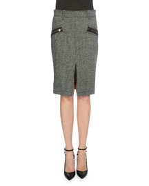 Herringbone Wool Pencil Skirt, Charcoal