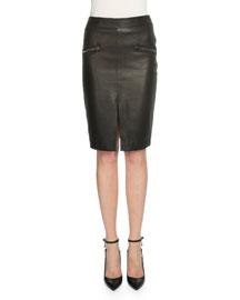 Leather Side-Zip Pencil Skirt, Black