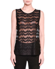 Sheer Zigzag Sleeveless Top, Black