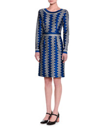 Long-Sleeve Zigzag Knit Dress, Blue/Silver