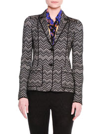Zigzag Soft Knit Two-Button Jacket, Black/Tan