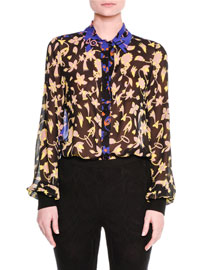 Long-Sleeve Patchwork Floral Blouse, Multi