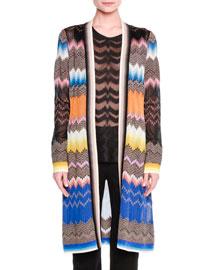 Long Zigzag Knit Cardigan