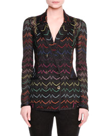 Soft Metallic Zigzag Knit Jacket, Black