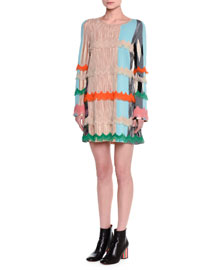 Long-Sleeve Fringe-Trimmed Dress, Light Blue