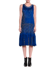 Sleeveless Pleated Fringe Dress, Blue
