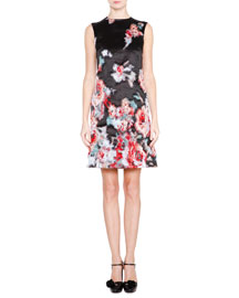 Sleeveless Metallic-Floral Dress, Fantasia