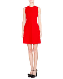 Sleeveless Seamed Fit-and-Flare Dress, Red