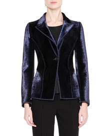 Woven Velvet One-Button Jacket, Navy