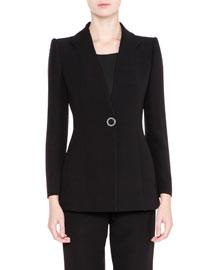 Notch-Lapel Silk Jacket, Black