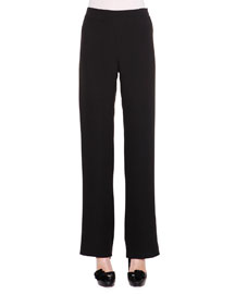 Flared Silk Cady Pants, Black