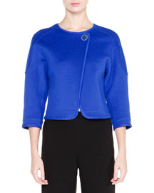 3/4-Sleeve One-Button Jacket, Egyptian Blue