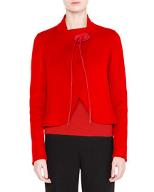 Cashmere Wrap Jacket w/Leather Ties, Red