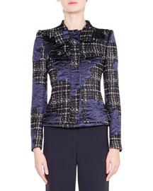 Satin-Trimmed Tweed Jacket, Navy