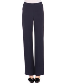 Straight-Leg Silk Cady Pants, Navy