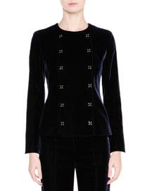 Velvet Bracelet-Sleeve Jacket, Navy