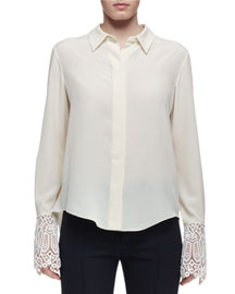 Silk Blouse w/Lace Cuffs, Cream