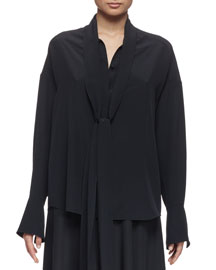 Button-Front Tie-Neck Blouse, Black