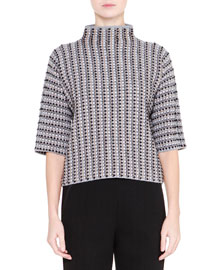 High-Neck Printed Wool Top, Black/White
