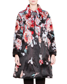 Floral Jacquard Tie-Neck Coat, Multi