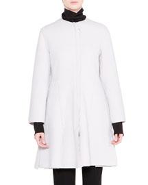 Zip-Front Wool A-Line Coat