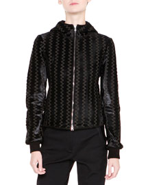 Chevron Calf-Hair & Leather Jacket, Black