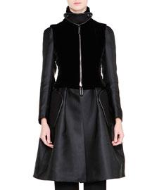 A-Line Bracelet-Sleeve Coat w/Cashmere Vest, Black