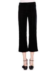 Velvet Flare-Leg Cropped Pants