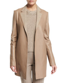 Bonded Leather Notch-Collar Coat, Clay