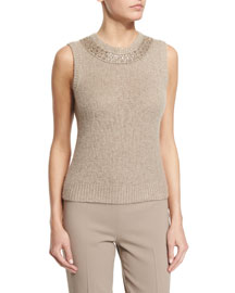 Sleeveless Beaded Cashmere Top, Oatmeal