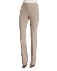 Wool Crepe Side-Zip Pants, Truffle