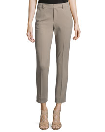 Lightweight Wool Crepe Ankle Pants, Truffle
