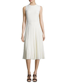 Sleeveless Pleated Cady Dress, Cream